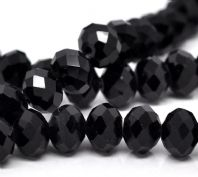 72 Black Crystal Glass Faceted Rondelle Beads 8 x 6 mm